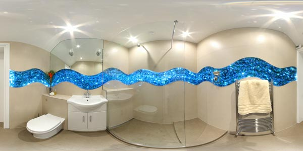Backlit Glass Bathroom Tiling Panorama